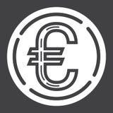Pictogram van muntstuk het euro glyph, zaken en financiën, geld Royalty-vrije Stock Foto