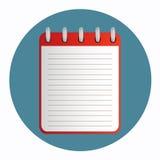 Pictogram van notitieboekje rode kleur Stock Foto's