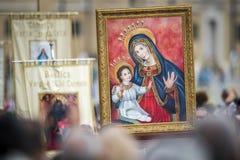 Pictogram van onze Dame Mary en Jesus Child stock fotografie