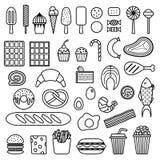 Pictogram van snoepjes, snel voedsel, vlees en vissen vector illustratie