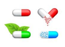 Pictogram van vier gezondheidspillen Stock Foto
