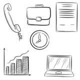 Pictogram vastgestelde bedrijfsbureau & communicatie met klok, telefoon, inh. stock illustratie