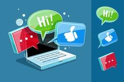 Pictogram voor online Webpraatje bij laptop Stock Afbeelding