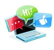Pictogram voor online Webpraatje bij laptop Stock Fotografie
