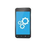 Pictogram voor reparatie smartphones Telefoonvervangstukken voor reparaties Stock Foto's