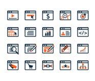 Pictogram voor Webontwikkeling en SEO wordt geplaatst die Stock Afbeelding