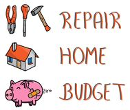 Pictogram and words, repair your home budget, piggybank, hand tools, house.  Royalty Free Stock Photo