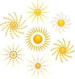 Pictogram zeven van zon stock afbeelding