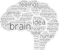 Pictograma de la nube de la etiqueta del cerebro Imagen de archivo