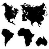 Pictograma de los continentes Imágenes de archivo libres de regalías