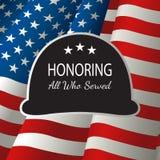 Pictograma del casco militar en la bandera de los Estados Unidos de América stock de ilustración