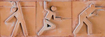 Pictograma del deporte Icono del deporte fijado en ladrillo de la loza de barro Imágenes de archivo libres de regalías