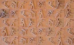 Pictograma del deporte Icono del deporte fijado en ladrillo de la loza de barro Foto de archivo libre de regalías