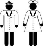 Pictograma del doctor y de la enfermera stock de ilustración