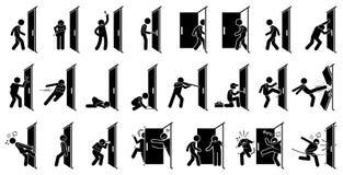 Pictograma del hombre y de la puerta stock de ilustración