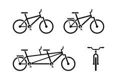 Pictograma do ícone da bicicleta Símbolo clássico, em tandem da bicicleta Vista dianteira e lateral ilustração royalty free