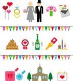 Pictogramas de la boda stock de ilustración