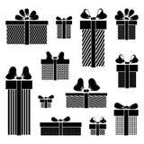 Pictogramas de la caja de regalo en el fondo blanco Imagen de archivo