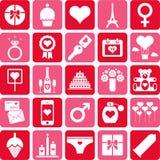 Pictogramas de la tarjeta del día de San Valentín ilustración del vector