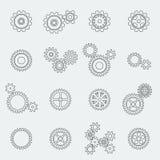 Pictogramas de las ruedas y de los engranajes de los dientes ilustración del vector