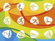 Pictogramas del icono de los juegos del verano del Brasil Foto de archivo