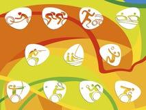Pictogramas del icono de los juegos del verano del Brasil Imágenes de archivo libres de regalías