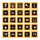 Pictogramas públicos del Info inversos Imagen de archivo libre de regalías