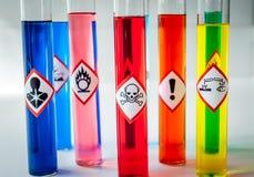 Pictogramas químicos del peligro multicolores Imagenes de archivo