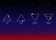 Pictogramelementen: Lucht, Aarde, Brand en Water De symbolen van de Wiccanwaarzegging Oude geheime symbolen, vectorillustratie vector illustratie