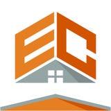Pictogramembleem voor bouwvak met het concept daken en combinaties brieven E & C Stock Afbeelding
