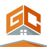 Pictogramembleem voor bouwvak met het concept daken en combinaties brieven G & C Stock Foto