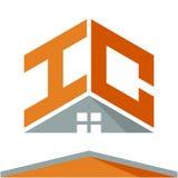 Pictogramembleem voor bouwvak met het concept daken en combinaties brieven H & C Stock Foto's