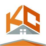 Pictogramembleem voor bouwvak met het concept daken en combinaties brieven K & C Stock Foto's