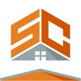 Pictogramembleem voor bouwvak met het concept daken en combinaties brieven S & C Stock Fotografie