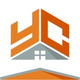 Pictogramembleem voor bouwvak met het concept daken en combinaties brieven Y & C Royalty-vrije Stock Afbeelding