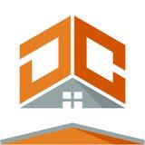 Pictogramembleem voor bouwvak met het concept daken en combinaties van brieven D & C Stock Afbeelding
