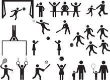 Pictogramfolkgyckel och sportaktivitet Royaltyfri Fotografi