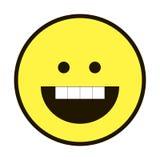 Pictogramglimlach Smiley geel op een witte achtergrond Stock Foto's