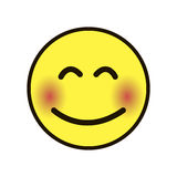 Pictogramglimlach Smiley geel op een witte achtergrond Stock Afbeeldingen