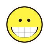 Pictogramglimlach Smiley geel op een witte achtergrond Royalty-vrije Stock Foto