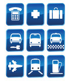 Pictogramki03. Set of icons and icons with symbols of transport (03 Royalty Free Stock Photos