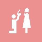 Pictogramme qui représentent des couples dans l'amour Photos libres de droits