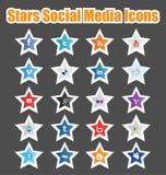 Pictogrammen 1 van de Media van sterren Sociale Royalty-vrije Stock Afbeeldingen