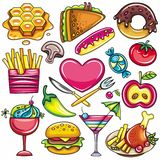 Pictogrammen 1 van het voedsel Stock Foto