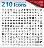 210 pictogrammen Stock Foto