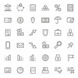 Pictogrammen, Bank, Financiën, contour, lijn, zwart-wit, witte achtergrond Stock Foto's