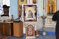 Pictogrammen binnen de Orthodoxe Kerk Stock Afbeelding