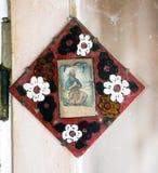 Pictogrammen in de oude tempel Stock Foto's