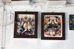 Pictogrammen in de oude tempel Stock Afbeelding