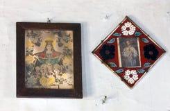 Pictogrammen in de oude tempel Royalty-vrije Stock Foto